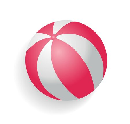 Inflatable ball for beach games vector. Isolated icon closeup of spherical object used to play volleyball and water polo. Summer time playful item Stock Illustratie