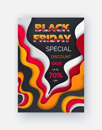 Coupon on Black Friday clearance, big sale up to 70 percent off, buy now. Vector discount certificate template, blurred lines of red, orange and white  イラスト・ベクター素材