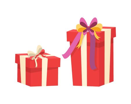 Boxes with presents decorated by silk tape and topped by bow, vector Christmas surprise in package isolated on white. Wrapped gift in cardboard, vector