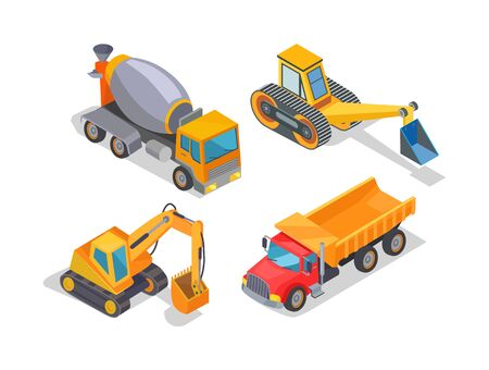 Excavator and cement mixer industrial machinery isolated icons vector. Digger loader and truck with container, bulldozer, transportation of goods Illustration