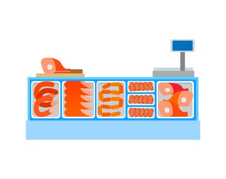 Seller counter full of butchery food products meat and sausages. Ham and chicken legs, bbq and sirloin, cash desk with monitor vector icon in flat style Illustration