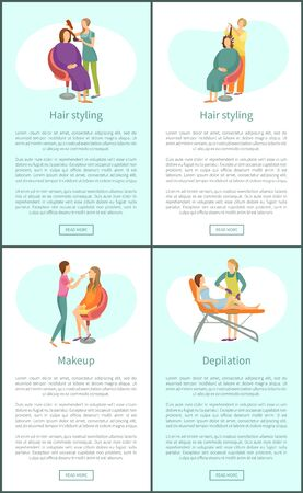 Hair styling stylists and visagiste working with clients. Set of posters set vector depilation wax epilation, hair removal on legs. Haircut and hairdo Ilustração