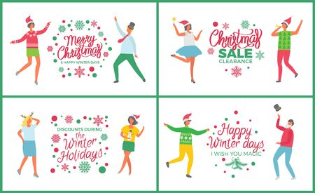 Christmas party people dancing and celebrating set vector. Happy new year winter holiday. Sale and discounts of shops, 25 percent off proposition Иллюстрация