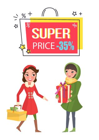 Super price thirty five percent reduction off vector. Women holding presents and basket with bought products at store. Proposition discount on sale Çizim