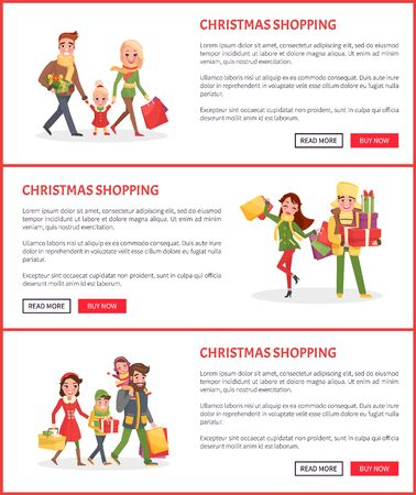Christmas holiday preparation shopping on new years eve vector. Xmas presents, family going from supermarket with gifts, parents and children walking Иллюстрация
