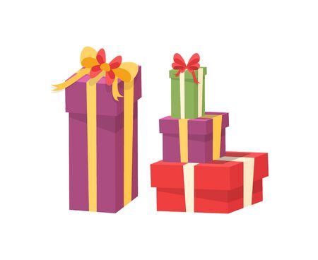 Pile of vector packages in decorative paper, shopping packs with surprise inside, purple green red containers with bow. Christmas presents wrapped in gift boxes on white background