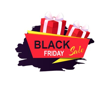 Black Friday sale, banner with presents in boxes vector. Discounts and special prices, reductions and surprises for clients. Autumn sellout of shops  イラスト・ベクター素材
