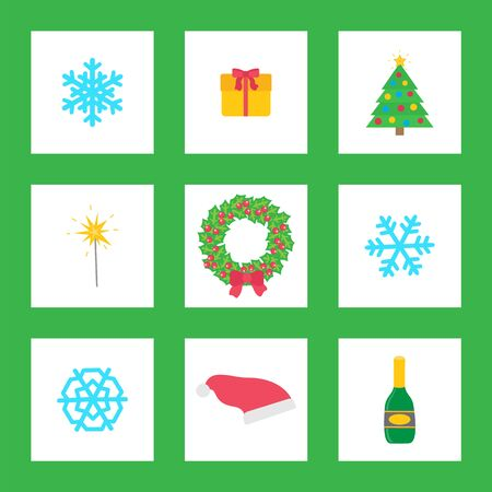 Christmas wreath with mistletoe, champagne alcoholic drink isolated icons vector. Snowflake and Santa Claus hat, pine tree decorated with garlands