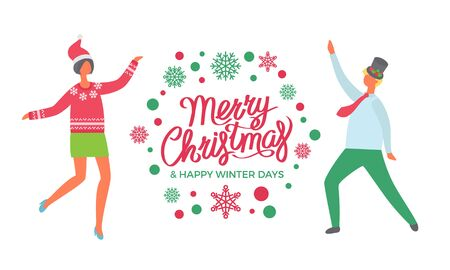 Merry Christmas and Happy winter days, dancing people colleagues. Party celebration, man in high hat, woman in Santa Claus headwear cartoon style, lettering Stock Illustratie
