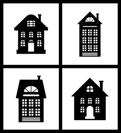 Building old fashioned houses silhouettes set vector. Cut out of homes, urban construction in vintage flat style. Colorless isolated icons of estates Illustration