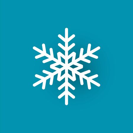 Snowflake cut out icon isolated on blue. Winter symbol, xmas flake New Year and Christmas sign, frozen crystal frozen element, vector paper object