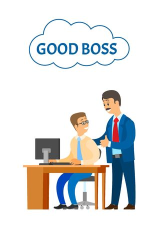 Good boss company leader supervising new office worker vector. Director satisfied with novice working on personal computer. Encouragement of employee