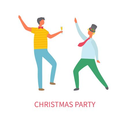 Christmas party, two drunk men dancing at corporate fest celebrating New Year and christmas holiday. Vector cartoon style people template isolated