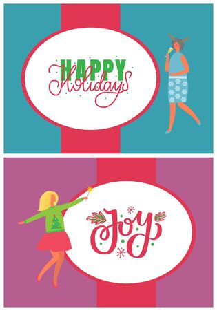 Happy New Year holidays and joy greeting card with people. Christmas party celebration woman in horns, drinking champagne. Females on high heels celebrating Xmas