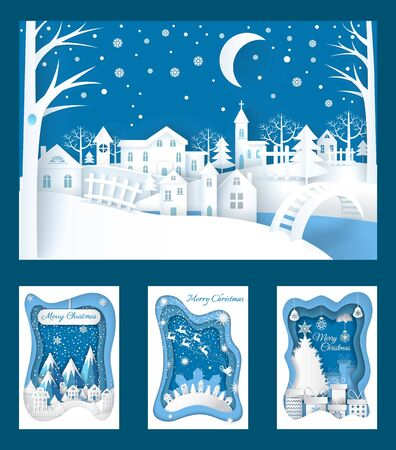 Merry Christmas paper cuts of town nature vector. Snowman wearing top hat in fir wood, fireplace with sock for gifts, city in evening. Snowing weather