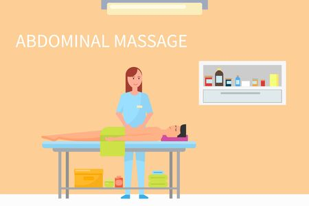 Massage therapy abdominal belly care done by specialist masseuse, spa salon interior. Man relaxing on table, woman rubbing client with oils lotions vector