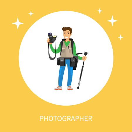 Young photographer with photo equipment. Man holding digital camera and tripod, cases for lenses on belt, heavy backpack vector isolated in circle frame