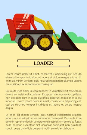 Agricultural machinery icon cartoon vector banner. Small compact loader with front ladle, isolated new equipment and farming technique poster sample