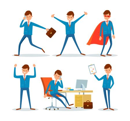 Business sphere, businessman in office, activities of chief executive vector. Boss talking on phone, running with briefcase. Director with good mood