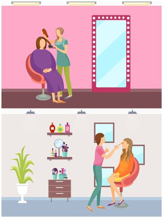 Hair styling process and visage makeup set vector. Care of face and head, cosmetics and lotions on shelf of beautician. Transformation of women look