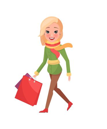 Woman in green winter coat with packages in hands isolated vector. Female in red and yellow scarf with shopping bags, Christmas holidays shopaholic, cartoon style Ilustração