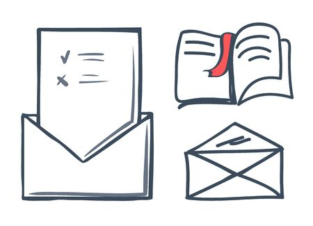 Envelope and book with bookmark isolated icons set vector. Publication and info on papers, correspondence and letter with message to recipient person