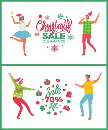Christmas sale party, 70 seventy percent discounts, shops offers vector. Dancing people celebrating new year deals propositions, lights and snowflakes