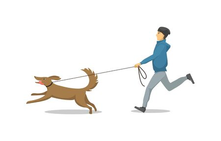 Pet dog and its owner running same direction isolated vector. Male and mammal with collar on neck, person with domestic animal breed jogging together