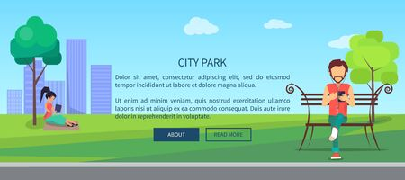 City park web banner with people having fun with digital gadgets. Social networking on fresh air, surfing in Internet in free wifi zone