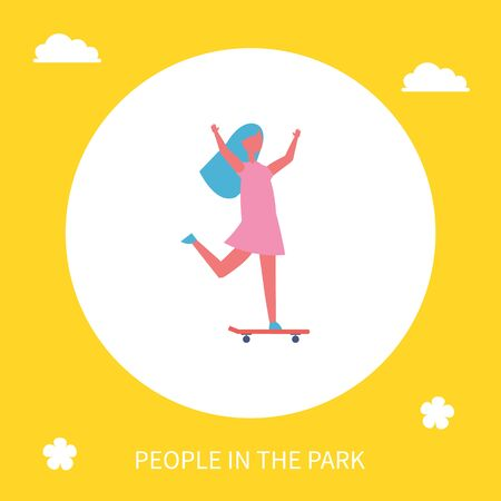 Girl riding on skateboard in park vector icon isolated cartoon character. Single lady with long hair in dress and sneakers skateboarding with hands up