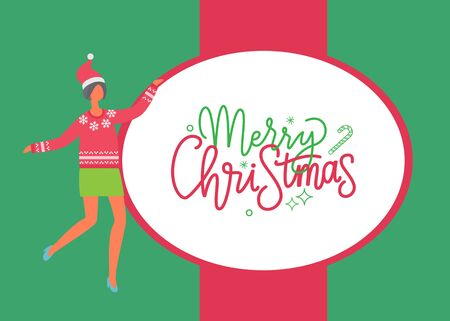 Merry Christmas poster, woman in skirt and sweater with snowflakes, Santa Claus hat on head. Vector female in flat design. Girl celebrating Xmas, card