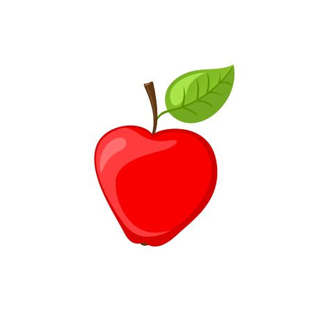 Ripe apple fruit with leaf on top isolated vector. Organic product and healthy lifestyle, dieting and dietary item for people. Nature sweet vitamins