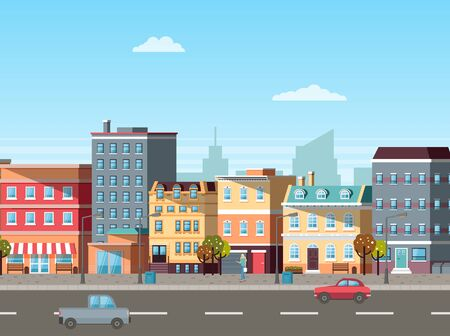 Empty street, buildings colored in different shades. Cars driving on roads, city life with transport and residential property of people old town. Vector illustration in flat cartoon style Ilustração