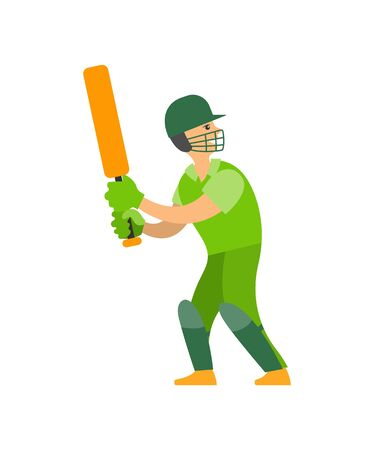 Cricket player in protective helmet with bat in hands ready to hit ball. Vector, person playing competitive English kind of sports, character in gloves Ilustração