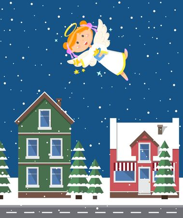 Angelic child flying at night, street with old buildings and snowy weather. Snowfall and houses, Christmas holiday celebration, present in hand. Vector illustration in flat cartoon style