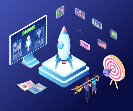 New project launching vector, 3d workers aiming at target holding big arrow, isometric computer monitor with information and rocket, infocharts and infographics Ilustração