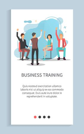 Man and woman rising hands, business training slide, workers cooperation, employees sitting on chairs and discussing, audience and voting vector. Website or app slider, landing page flat style