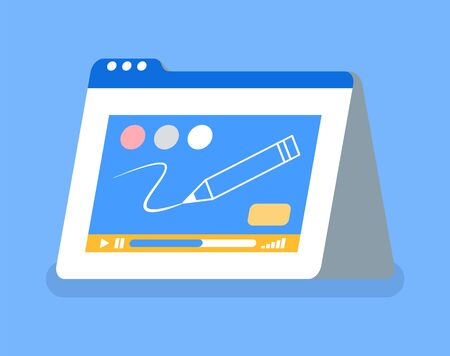 Graphic design tablet with pencil and colors isolated icon. Video tutorial for beginners and starters, monitor of gadget, drawing programm. Vector illustration in flat cartoon style