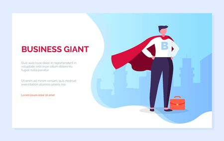 Business giant vector, male with briefcase standing in super hero posture. Businessman wearing suit and red gown, almighty chief successful man. Website or webpage template, landing page flat style