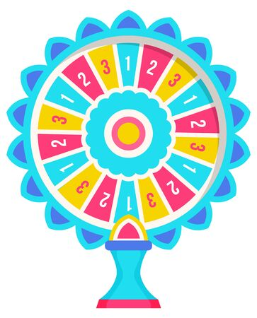 Gambling, fortune wheel and casino, roulette isolated round objects vector. Score win and earning, profit or jackpot, risk and opportunity, circle rotation