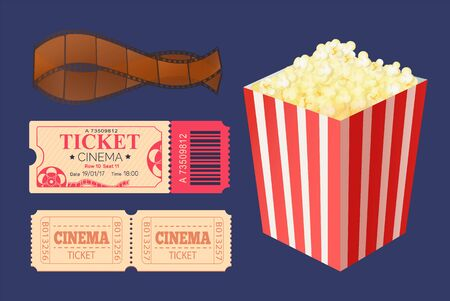 Cinema ticket admission vector, access to watch movies, film recorded on tape isolated icons set. Package of popcorn, cooked salty snack, weekend activity Ilustração