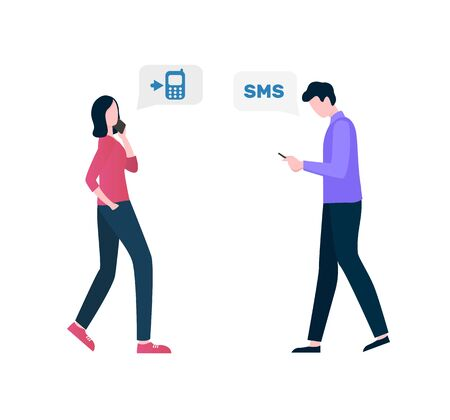 People side view, communication with wireless device phone, woman going and talking on smartphone, man tapping message, incoming call and sms vector Illustration