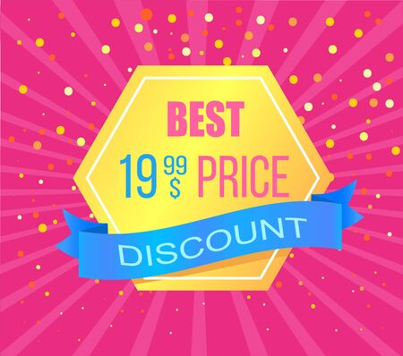 Best price pentagonal label with discount offer, rays and dots. Vector advertising tag, promo offer, super sale and discounts isolated on pink backdrop Çizim