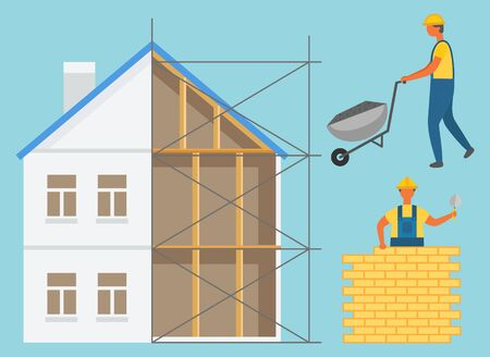House construction zone, builder going with truck, worker holding putty knife and laying bricks. Building wall and renovation build, engineering vector
