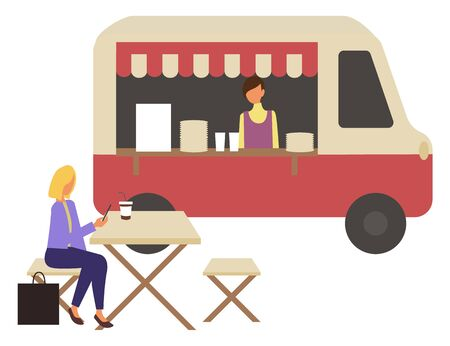 Marketplace, fast food trolley and cafe with takeaway dishes and coffee drinks. Vector woman sitting on chair at table in street restaurant and drinking soda, isolated 일러스트