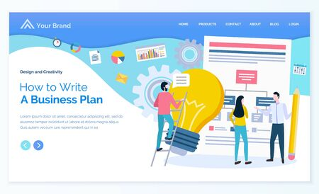 How to write business plan vector, business meeting of partners and professionals. Man and woman with electric bulb idea of person colleagues. Website or webpage template, landing page flat style