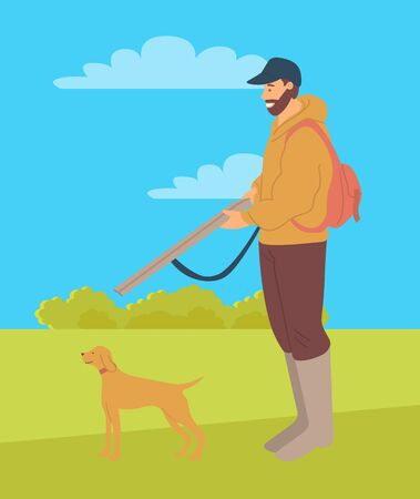 Huntsman with rifle and hunting dog pointer isolated. Vector bearded man and puppy purebred for hunt, pedigree hound or retriever in flat style