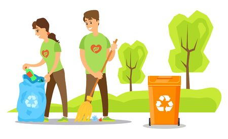 Volunteering and helping ecologically, man and woman wearing same tshirts busy with waste sorting and sweeping floor, bin container with logo. Vector illustration in flat cartoon style