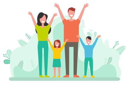 Happy people in casual clothes rise hands, smiling parents and children. Male and female standing with girl and boy, man and woman success. Vector illustration in flat cartoon style