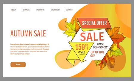 Card with seasonal proposition from store, vector. Shop sale in autumn. Autumnal offer discounts. Fall leaves with gold tag. Flyer hot price and lowered cost, promotion premium quality goods